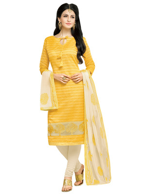 Yellow embroidered Lakda Jacquard Work unstitched salwar with dupatta