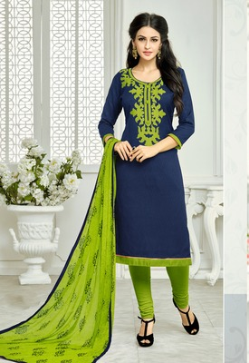 Navy Blue embroidered Lakda Jacquard Work unstitched salwar with dupatta