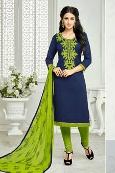 dea1033854 Navy Blue embroidered Lakda Jacquard Work unstitched salwar with dupatta
