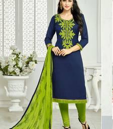 Navy Blue embroidered Lakda Jacquard Work unstitched salwar with dupatta