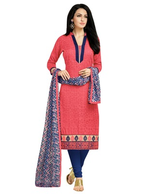 Peach embroidered Lakda Jacquard Work unstitched salwar with dupatta