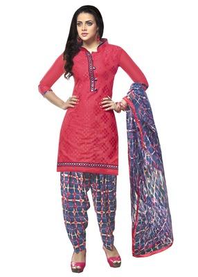 Pink embroidered Glaze Cotton unstitched salwar with dupatta