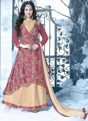 Light maroon embroidered silk salwar