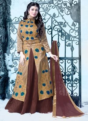 Golden embroidered silk salwar