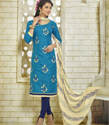 Teal Blue embroidered Khadi Silk unstitched salwar with dupatta