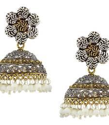 Flower Gold Rhodium Plated Antique Oxidized German Silver Jaipur Jhumki Earring For Girls Women