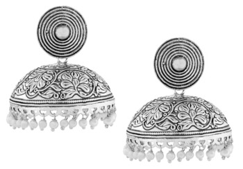 Large Statement Antique Plated Oxidized Pearl German Silver Jaipur Jhumki Earring For Girls Women