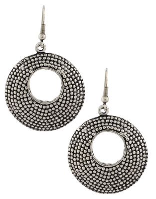 Dainty Indian Jaipur Geometric Oxidized German Silver Jhumki Earring for Women
