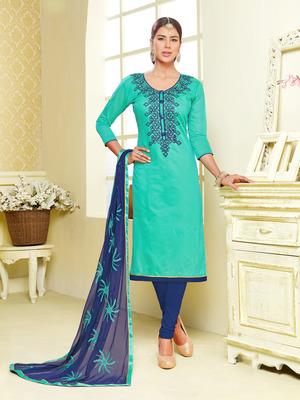 Sea Green  dori_embroidery Chanderi unstitched salwar with dupatta