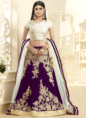 Purple hand woven georgette unstitched lehenga