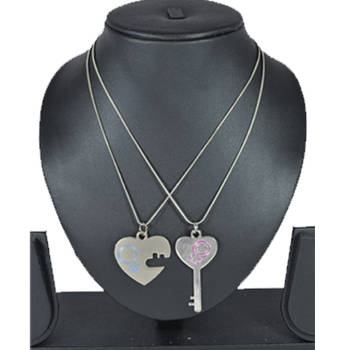 "Diovanni Valentine's Couples Collection - ""Key to Open Heart"" with Dual-Chain"