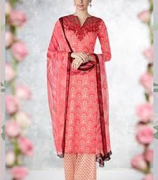 Buy Multicolor embroidered pure cotton silk punjabi party suit punjabi-suit online