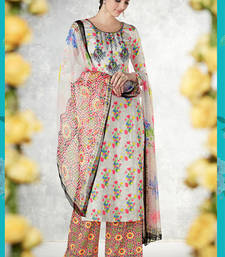 Buy Multicolor embroidered pure cotton silk salwar palazzo online