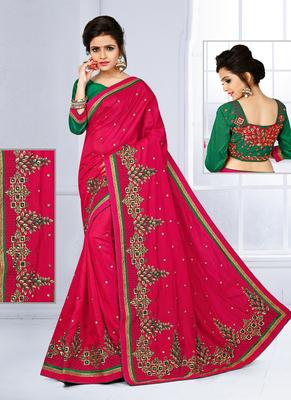 Dark rani pink hand woven silk saree with blouse