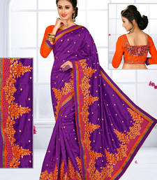 Buy Purple hand woven silk saree with blouse silk-saree online