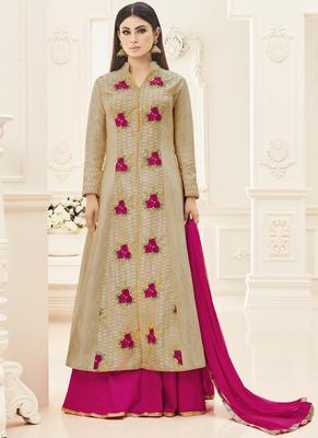 Beige embroidered silk salwar
