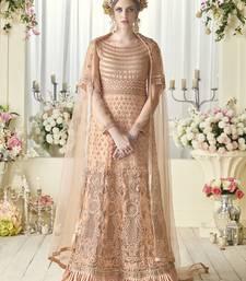 Buy Peach multi resham work net salwar wedding-salwar-kameez online
