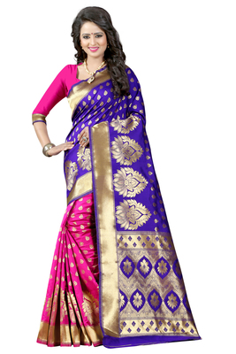 Blue woven banarasi art silk saree with blouse