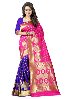 Pink banarasi saree with blouse