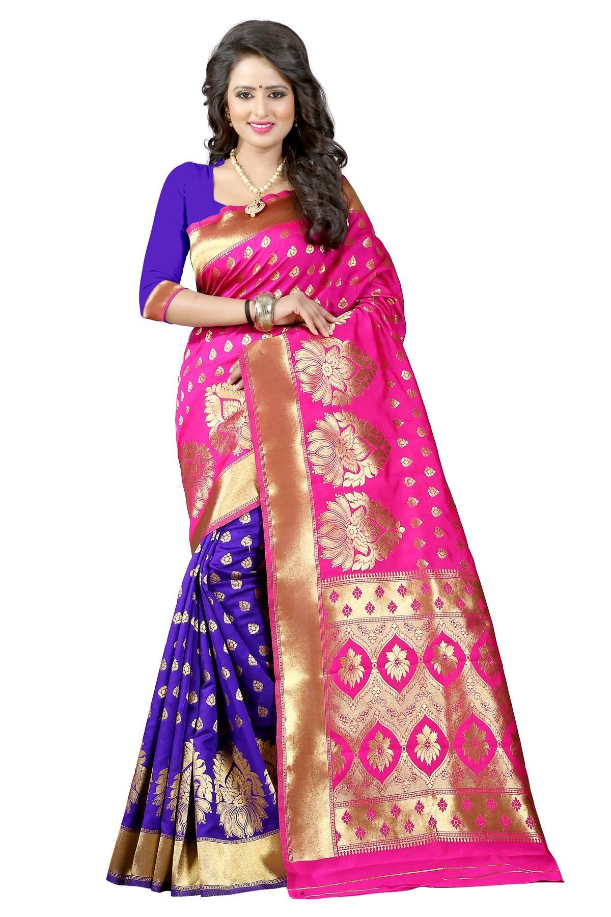 Pink Saree Online Buy Hot Sarees With Golden Border For Women Kemeja Lavender Contrast Multicolor Shop At Velvet