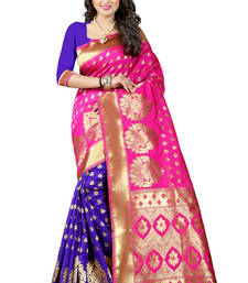 Pink banarasi saree with blouse