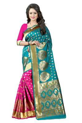 Turquoise woven banarasi art silk saree with blouse