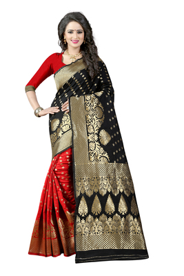 Black woven banarasi art silk saree with blouse