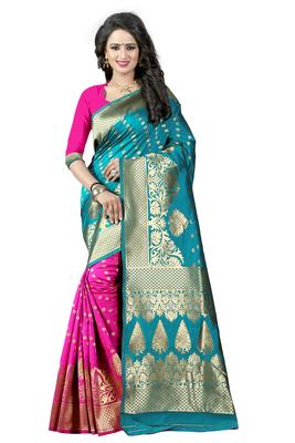Turquoise woven banarasi art silk  saree  with blouse
