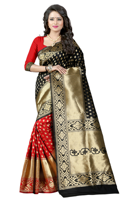 e869f62772 Black woven banarasi art silk saree with blouse - Shree Sanskruti ...