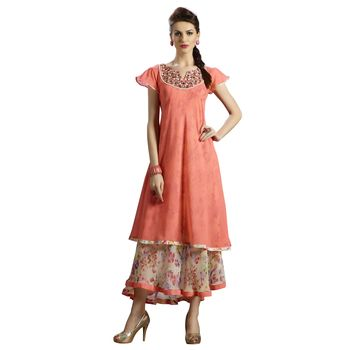 peach embroidered georgette  kurti