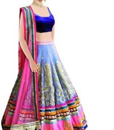 Buy Blue embroidered dupion silk unstitched lehenga choli with dupatta lehenga-choli online