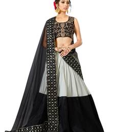 Buy Black embroidered silk unstitched lehenga with dupatta lehenga-below-3000 online