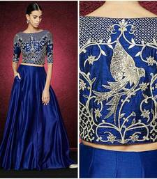 Buy Blue embroidered silk unstitched lehenga with dupatta lehenga-below-3000 online