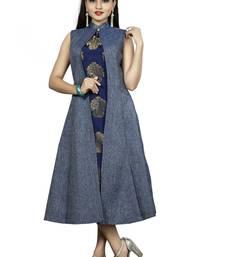 Blue Color Denim A-Line Front Slit Women's Long Kurti