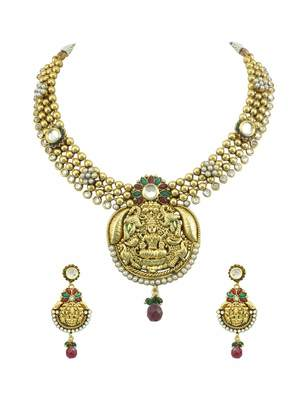 Red Green Temple Necklace Set Jewellery for Women