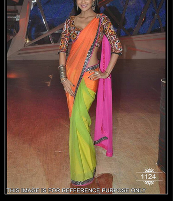 PINK ORANGE GREEN PLAIN NET CELEBRITY SAREE WITH BLOUSE