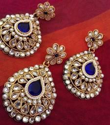Rich zircon work teardrop India blue ethnic adiva pearl polki copper pendant set ab69b