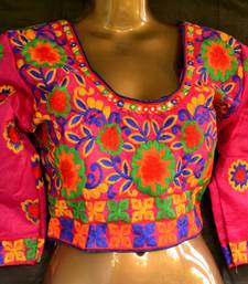 Pink and Multicolour Raw Silk Designer Hand Embroidered stitched blouse