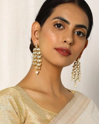 Kundan Teardrop Gold Plated Danglers