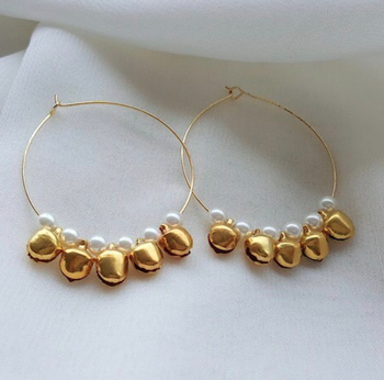 Ghungroo And Pearls Hoops Baali