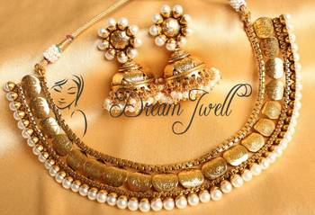 Beautiful Designer Gold Plated Pearl Coin Necklace Set