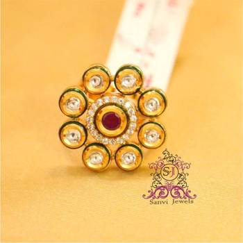 Kundan Ruby enamelling Adjustable Ring