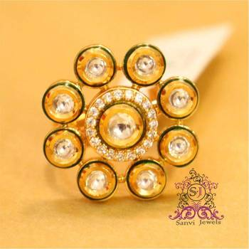 Kundan Meenakari Zircon Adjustable Ring