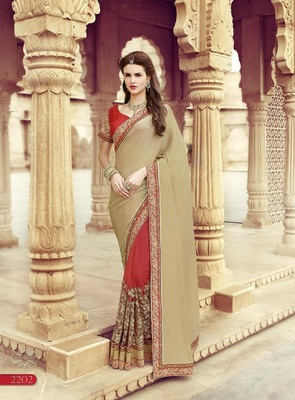 Beige embroidered art silk sarees saree with blouse