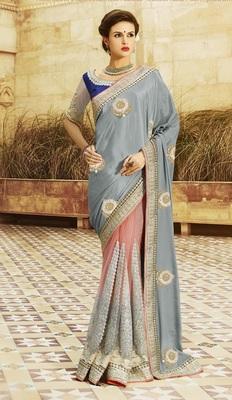 Grey embroidered art silk sarees saree with blouse