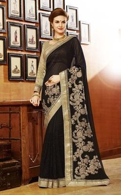 Black embroidered art silk sarees saree with blouse