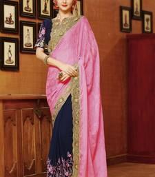 Buy Pink embroidered art silk sarees saree with blouse wedding-saree online