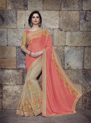 Peach embroidered art silk sarees saree with blouse