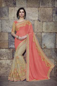cfa48f7b4 Peach embroidered art silk sarees saree with blouse. Shop Now