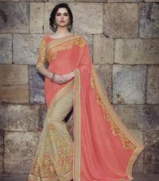 Peach embroidered art silk sarees saree with blouse